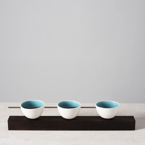 Lynne Rossington, Group of Three Thrown Bowls Balanced on Wenge Timber Plinth with Copper Rod