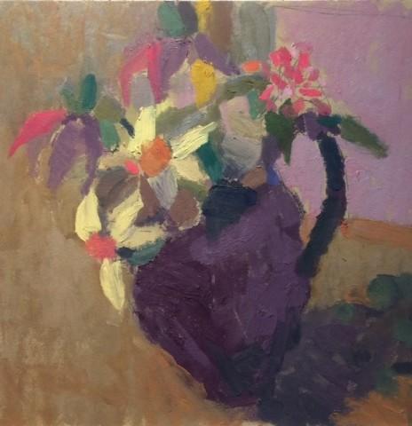 Nicholas Turner RWA, Springtime Flowers in a Purple Jug
