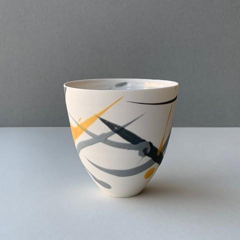 Ali Tomlin, Tall Cup - Grey and Yellow Splash