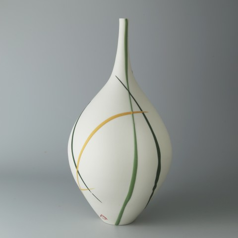 Ali Tomlin, Bottle Vase - Yellow & Green Splash