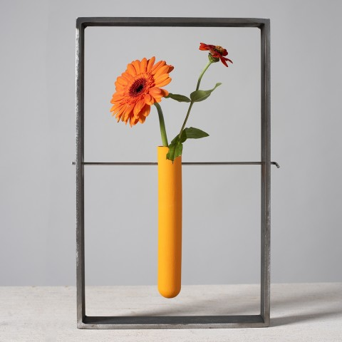 Lynne Rossington, Orange Porcelain Test Tube Suspended within a Steel Frame.