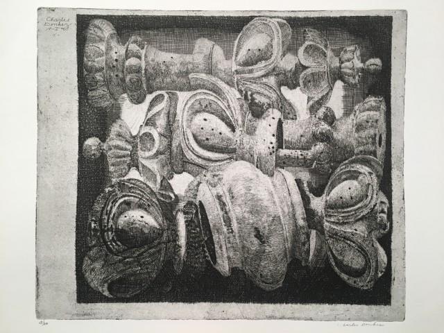 Ornamenten : Houten schaakstukken met wormgaatjes (Ornements : Pièces d'échec en bois trouées par des vers)
