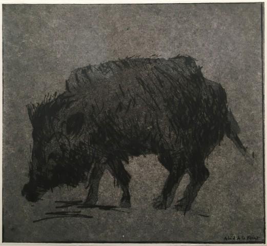 Astrid de La Forest, Empreinte (sanglier noir), 2014