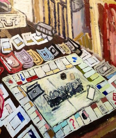 John Bratby, Interior with Monopoly Board, 1957
