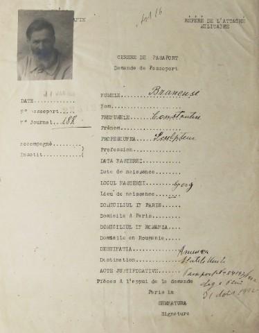 Constantin Brancusi  1876 - 1957  Self-portrait (Demande de Passeport), 1926
