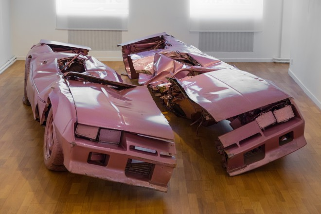 Sylvie Fleury, Skin Crime #5, 1999  Semi crushed Camaro  230 x 480 x 70 cm