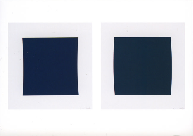 Diptych: Dark Blue / Dark Green 2001 colour lithograph, edition of 45 [published by Gemini Gel] 108 x 110cm [each, framed]