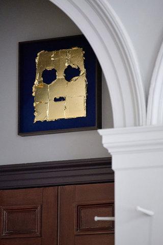 Peter Liversidge Mask (4), 2017  Found cardboard, acrylic paint and imitation gold leaf 47 x 41cm