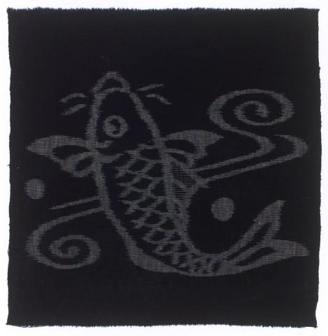 Textilien, #001141 Kasuri, Karpfen in Stromschnellen