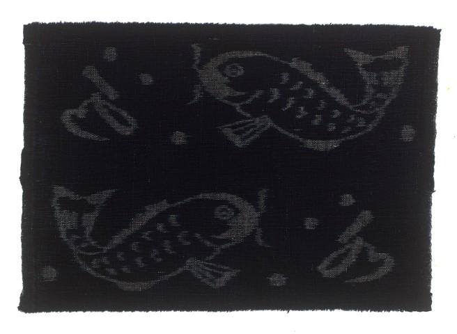 Textilien, #004205 Kasuri, Karpfen und Schriftzeichen (Wasser)