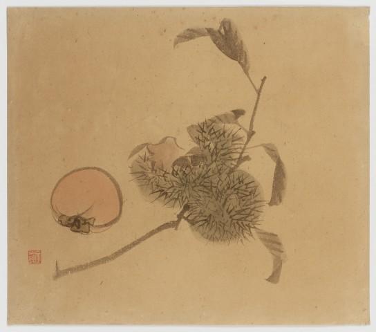 Malerei, #001289  Kastanienzweig und Kaki, Japan, Meiji (1868-1912), Taishô (1912-1926)