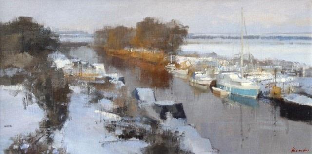 Snow on the River Stour, Kent