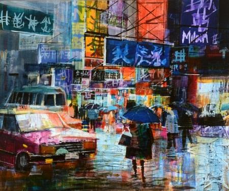 Evening street scene, Hong Kong