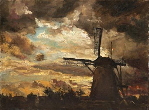 Windmill at Kinderdijk, evening  SOLD