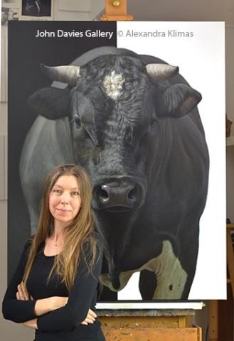 Alexandra Klimas with her painting  Tank the Bull