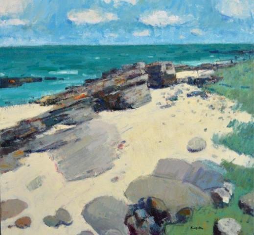 John Kingsley PAI RSW  Beach at Boarhills, Fife