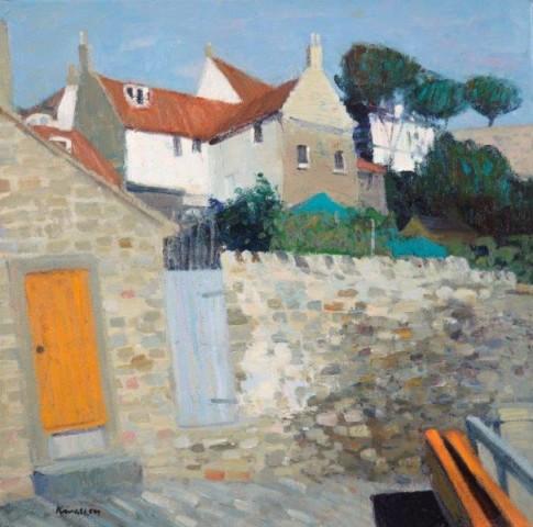 John Kingsley PAI RSW  Yellow Door, Crail, Fife
