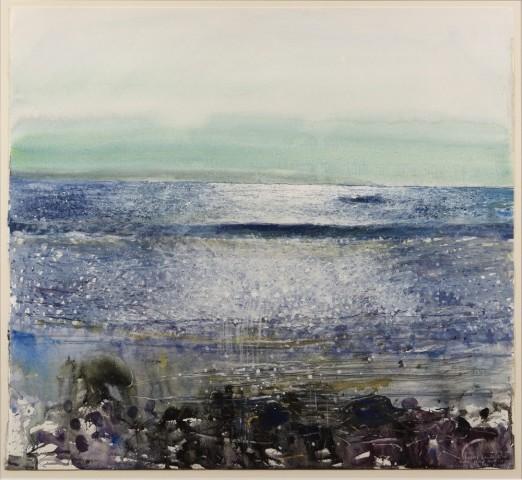 Kurt Jackson, Very loud, big seas, hazy, Land's End, tide going out 5.12.97
