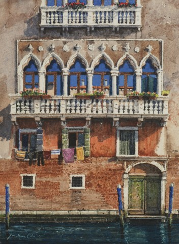 Jonathan Pike, Balcony and Three Blue Posts
