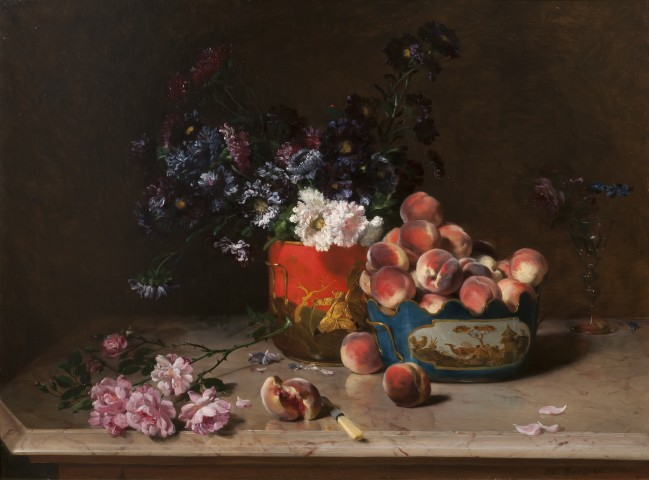 Still life with peaches and mixed flowers