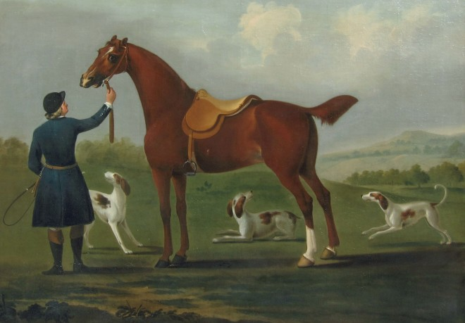 A Huntsman and his Horse with Three Hounds in an Open Landscape