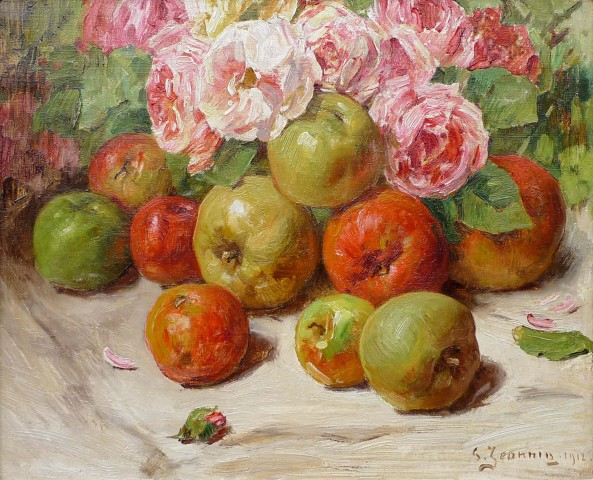 Still life with apples and roses