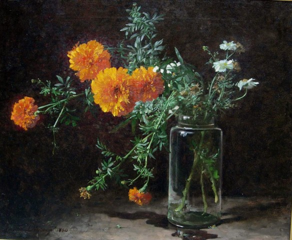 Adolphe-Louis Castex-Degrange, Marigolds and Daisies