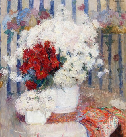 Ernest Jean Joseph Godfrinon, Still life of red and white flowers