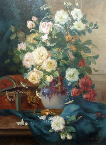 Eugene Henri Cauchois, Roses in a lustre vase