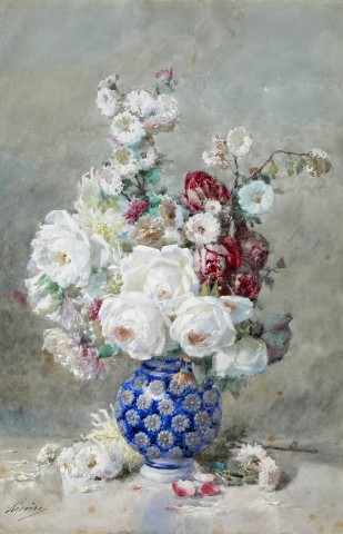 Francois Rivoire, Flowers in a blue vase