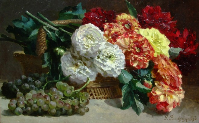 Still life of flowers and grapes
