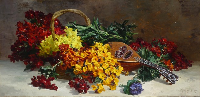 Still life of wallflowers with a mandolin