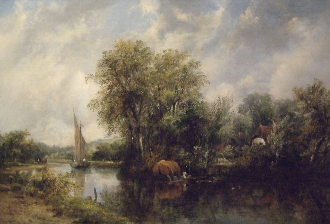 Frederick William Watts, River scene with fishing boat