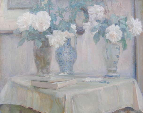 Adrian Karbowsky, Still life of white roses in ceramic vases
