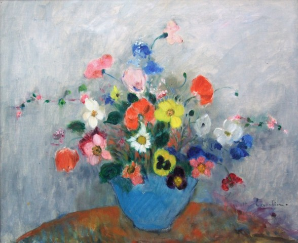 Juliette Cambier, Still life of pansies, daises and tulips