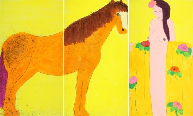 Golden Horse with Girl in Golden Robe (Triptych)