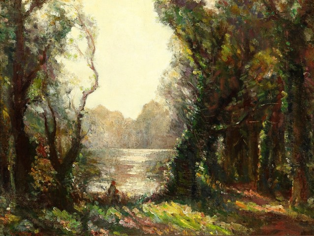 FIGURE BY A RIVER