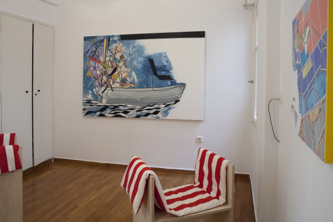 David Ben White (painting) and Studio LW (stool)