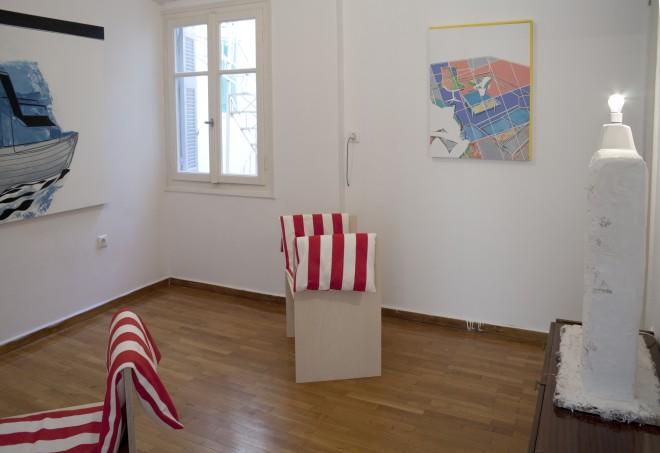 David Ben White (painting) and Studio LW (stools)