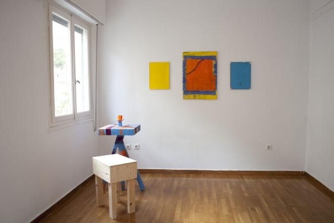 Bobby Dowler (paintings), Anton Alvarez (side table) and Christopher Green (stool)