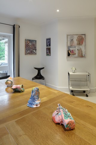 Adham Faramawy (left) and Nel Aerts (drawings on wall in centre), Megan Rooney (right) and Rosie Reed (sculptures on table)