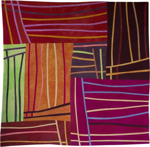 Lisa Call  Structures, 98, 2008  textile painting  29 x 30 in.
