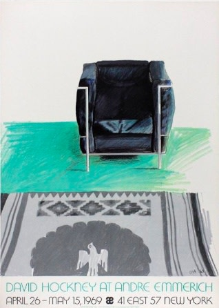 David Hockney, David Hockney Original Poster Corbusier Chair and Rug (Andre Emmerich Gallery, New York, 1969), 1969