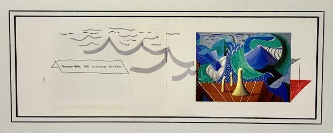 David Hockney, Hand Drawn additions to 'The sea at Malibu' Original David Hockney, 1988