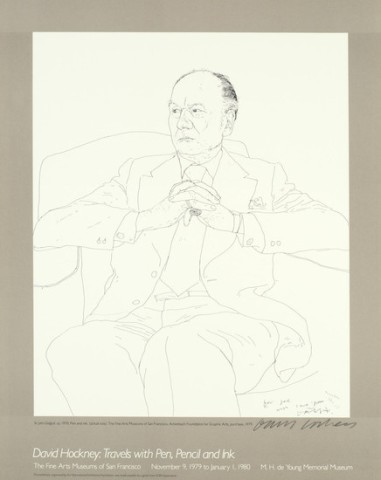 Hand Signed David Hockney Original Poster'Travels with Pen and Ink'