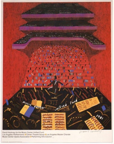 David Hockney, HAND SIGNED Los Angeles Music Center Fund, 1981