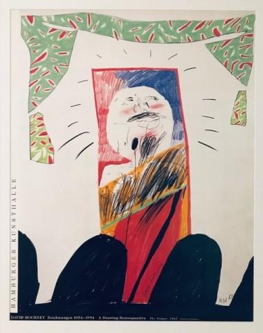 David Hockney, Hand Signed David Hockney Original Poster 'The Singer' Hambug Kunsthalle', 1994