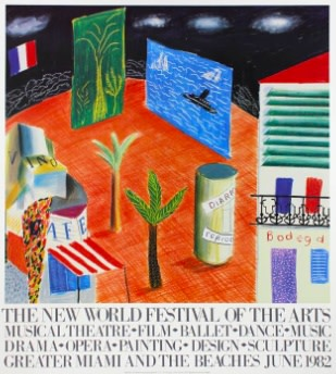 David Hockney, David Hockney Original Poster 'The New World Festival of the Arts', 1984