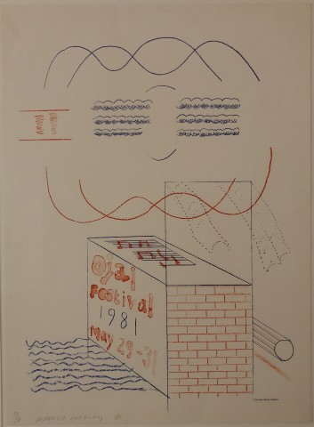 david hockney, David Hockney Signed Original Poster 'Ojai Festival', 1981