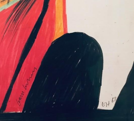 David Hockney, Hand Signed David Hockney Original Poster 'The Singer' Hamburger Kunsthalle', 1994